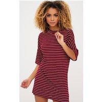 Burgundy Striped Oversized T Shirt Dress