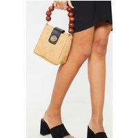 Natural Straw And Wooded Beaded Grab Bag
