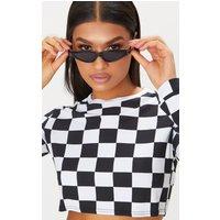 Black Small Cat Eye Skinny Sunglasses