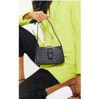 Black Croc Buckle Front Shoulder Bag