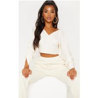 Cream Ribbed Ruched Sleeve Sweater