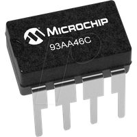 93AA46C-I/P - EEPROM, 1 Kb (128/64 x 8/16), Seriell Microwire, 1,8 ... 5,5 V,
