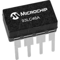 93LC46A-I/P - EEPROM, 1 Kb (128 x 8), Seriell Microwire, 2,5 ... 5,5 V, PDIP-8