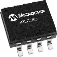 93LC56C-I/SN - EEPROM, 2 Kb (256/128 x 8/16), Seriell Microwire, 2,5 ... 5,5 V,