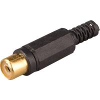 CKPG SW - Cinchkupplung, Farbcodierung schwarz, 6-kant, Kontakte vergoldet