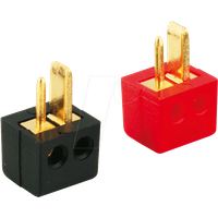LSMWG RT - Lautsprecherstecker, gewinkelt, vergoldet, rot