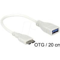 DELOCK 83469 - USB 3.0 Kabel, Micro B Stecker auf A Buchse, 0,2 m