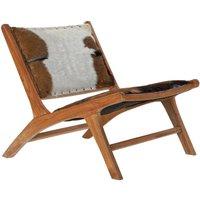 Silla en madera de teca y piel Sicily
