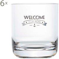 Set de 6 vasos de agua Welcome to Life