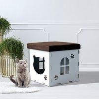 PawHut® Casa de Gato Caseta Mascota con Tapa para Sentarse Carga 80kg 40x40x40cm