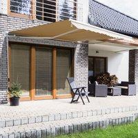 Outsunny Toldo Manual Plegable de Aluminio para Exterior con Ángulo Ajustable y Manivela para Patio Balcón Jardín Terraza - 3.5x2.5m