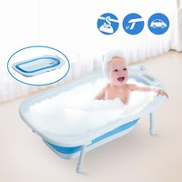 HomCom Bañera para Bebé y Niño para Baño Infantil - Plegable Portátil y Segura - Material PP + TPE - Color Blanco y Azul - 89 x 53.5 x 22cm
