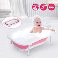 HomCom Bañera para Bebé y Niño para Baño Infantil - Plegable Portátil y Segura - Material PP + TPE - Color Blanco y Rosa – 89 x 53.5 x 22cm