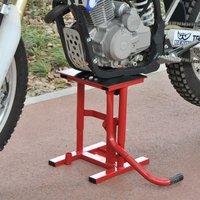 HomCom Caballete tipo Soporte Elevador de Motocross para Reparación y Estacionamiento – Color Rojo – Acero – Carga Máx. 150kg - 28 x 34 x 30-40cm