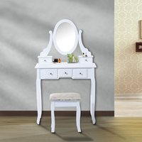 Homcom Tocador de Maquillaje con Taburete - Color Blanco - MDF y Madera Maciza - 80x40x140cm
