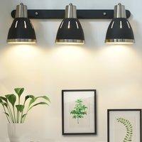 HomCom® Lámpara de pared Giratorio Focos de Pared Orientable Vintage Apliques 3 Luces E27 40w Ф13x16x55cm Negro