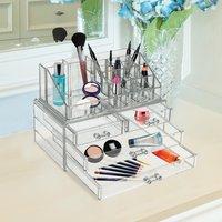 HomCom Organizador de Maquillaje Caja Cosméticos Joyería Acrílica 4 Cajones 16 Compartimientos Transparente 24x15x18.6cm