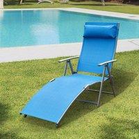 Outsunny Tumbona Plegable de Jardín con Respaldo Ajustable a 5 Niveles Acero y Textliene con Almohada Relax - Azul - 137x63.5x100.5cm