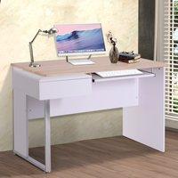 HomCom® Mesa de Ordenador PC Escritorio de Oficina Despacho Mesa de Escuela Estudio con Cajón 130x70x75.5cm Madera
