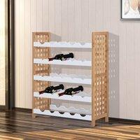 HomCom Botellero Bambú Estante de Vino para 25 Botellas 5 Niveles Cocina Sala de Estar Blanco - 63x25x76cm