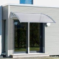 Outsunny Marquesina Techo Canopy para Ventanas Puertas Toldo Dosel Terrazas Placa de Policarbonato 5 mm Transparente Protección contra Sol y Lluvia 140cm