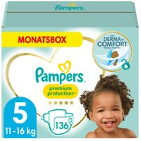 foto Pañales Pampers Premium Protection Tamaño 5 Junior 136 Pañales 11 - 16 kg Caja mensual