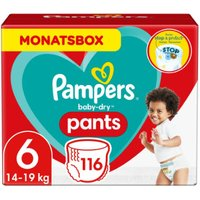 foto Pampers Pañales Baby Dry Pants Talla 6 Extra largo 116 Unidades 15+ kg Caja mensual