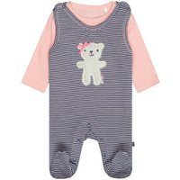 Staccato Girls Strampler+Shirt soft blue gestreift - blau - Gr.Newborn (0 - 6 Monate) - Mädchen