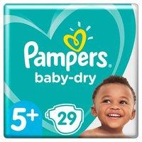foto Pampers Pañales Baby Dry Gr. 5+ Junior Plus 29 pañales 12 a 17 kg