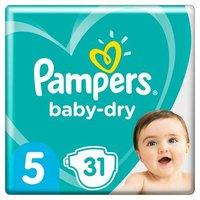 foto Pampers Pañales Baby Dry Gr. 5 Junior 31 Pañales de 11 a 16 kg. de paquete económico