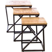 Product photograph showing Ancient Mariner Old Empire Mango Wood Angled Nest Of Tables
