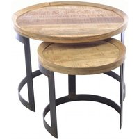 Product photograph showing Ancient Mariner Old Empire Mango Wood Round Nest Of Tables