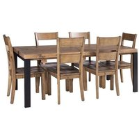 Product photograph showing Urban Loft Reclaimed Pine Industrial Extending Dining Table And 6 Chairs
