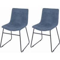 Product photograph showing Aspen Blue Fabric Dining Chair With Black Metal Legs Pair