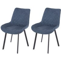 Product photograph showing Aspen Blue Fabric Upholstered Dining Chair With Black Metal Legs Pair