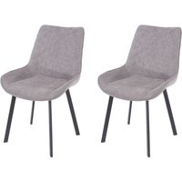 Product photograph showing Aspen Grey Fabric Upholstered Dining Chair With Black Metal Legs Pair