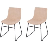 Product photograph showing Aspen Sand Fabric Dining Chair With Black Metal Legs Pair