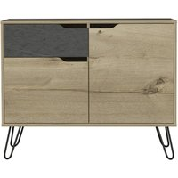 Product photograph showing Manhattan Small Sideboard With Hairpin Legs - Pine And Stone Effect