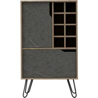 Product photograph showing Manhattan Bar Cabinet With Hairpin Legs - Pine And Stone Effect