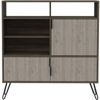 Product photograph showing Nevada Medium Sideboard With Hairpin Legs - Grey Oak Effect