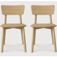 Product photograph showing Ethnicraft Oak Casale Varnish Dining Chair Pair