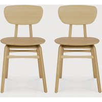 Product photograph showing Ethnicraft Oak Pebble Dining Chair Pair