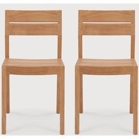 Product photograph showing Ethnicraft Teak Ex 1 Dining Chair Pair