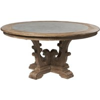 Product photograph showing Asbury Reclaimed Pine Zinc Top Round Large Dining Table