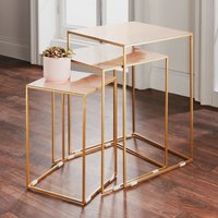 Product photograph showing Pale Pink And Gold Nest Of 3 Tables