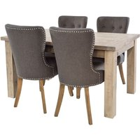 Product photograph showing Rowico Saltash Reclaimed Pine 140cm-190cm Extending Dining Table And 4 Adelf Grey Chairs