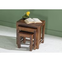 Product photograph showing Sheesham Nest Of Tables Set Of 3