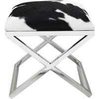 Product photograph showing Black And White Goatskin Stool