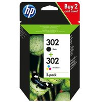HP 302 - 2-pack - black, colour (cyan, magenta, yellow) - original - ink cartridge