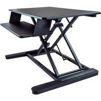 "Image of StarTech.com Sit Stand Desk Converter with Keyboard Tray, Large 35"" x 21"" Surface, Height Adjustable Ergonomic Desktop/Tabletop Standing Workstation Desk, Holds 2 Monitors, Pre-Assembled - Ergonomic Standing Desk (ARMSTSLG) - standing desk converter - rec"